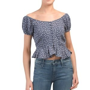 | polka dot peplum top |